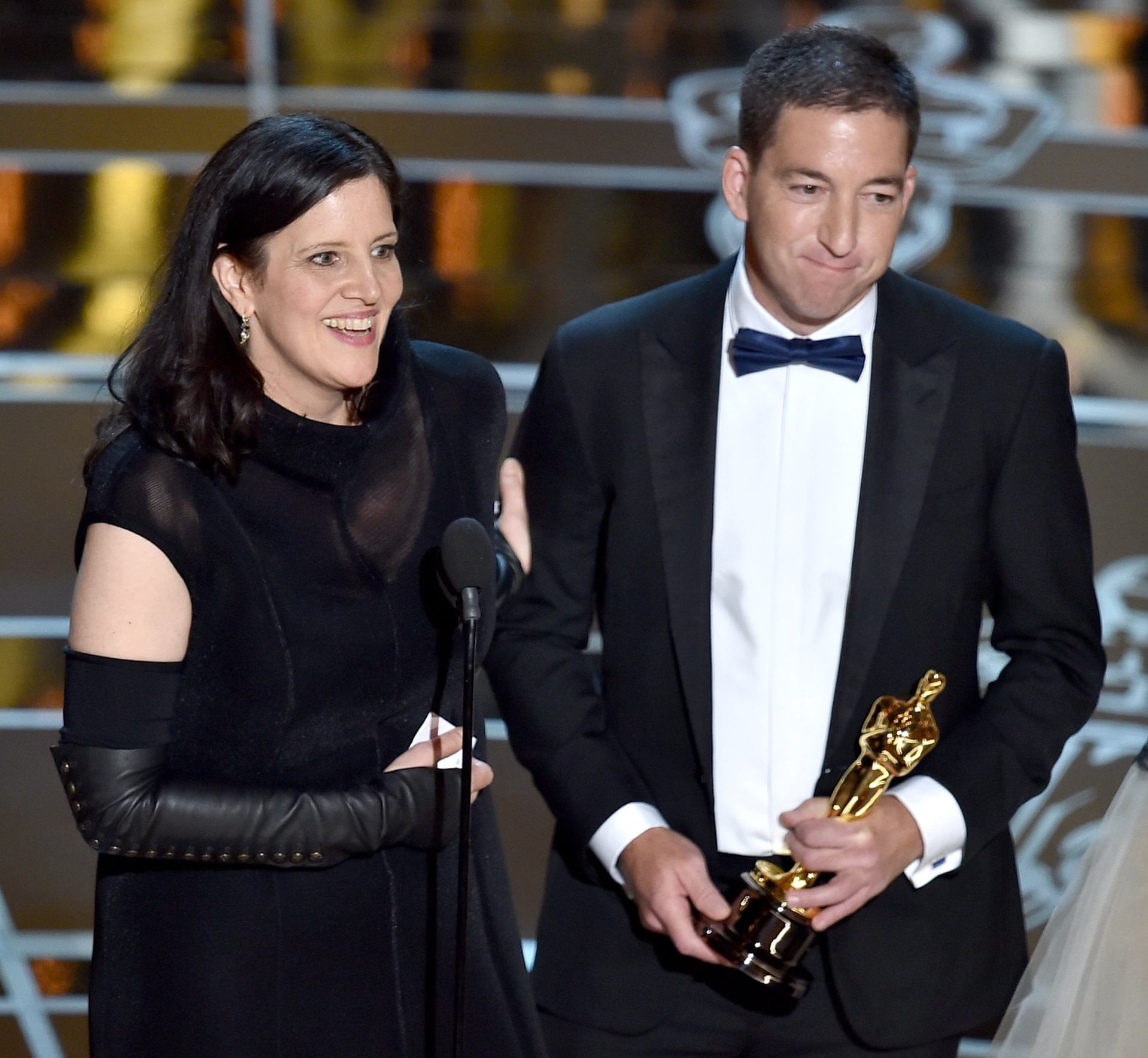 Laura Poitras and Glenn Greenwald received the Oscar for Best Documentary Feature at the 2015 Academy Awards.