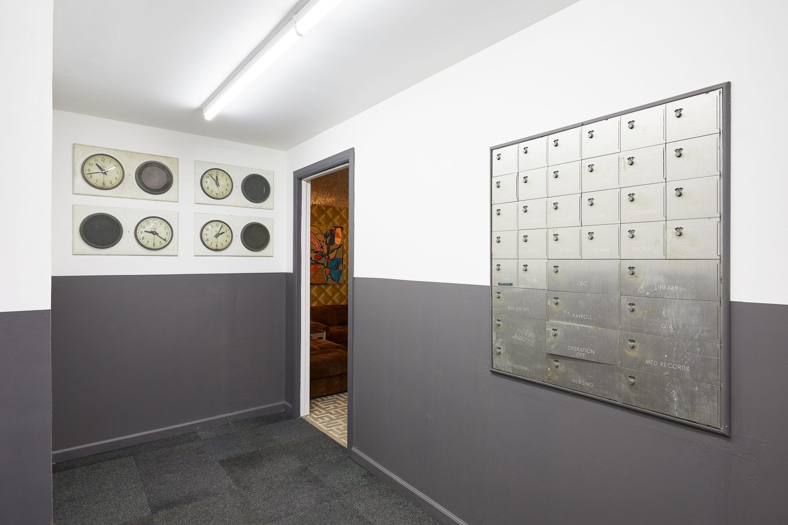 Freeman and Lowe. Colony Sound (R.2_Industrail Hallway). Marlborough, London_Installation View 7_Luke Walker